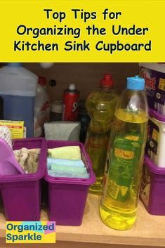 Cute Home Decor Under the kitchen sink storage solutions. Best ways of storing cleaning products safely and in an organized way. How to organize under kitchen sink using dollar store finds. Budget DIY under sink storage ideas using tension rods and dollar Under Kitchen Sink Organization, Under Kitchen Sinks, Kitchen Cupboard Storage, Under Sink Storage, Kitchen Cabinets On A Budget, Cupboards, Sink Organizer, Home Decor Quotes, Cute Home Decor