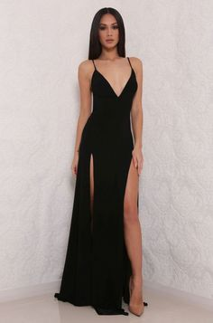 Black Prom Dresses,hot sexy spaghetti straps prom dress,split