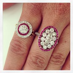 Loving these vintage ruby beauties. Exclusively at Single Stone. (213) 892-0772 www.singlestone.com @singlestonemissionstreet #ruby #deco #rings #victorian #diamonds #vintage #antique #jewelry #dtla #losangeles #love