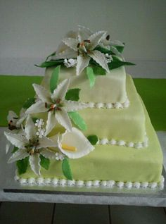 af1f05614a4 First Wedding cake for my brother. With sugar flowers