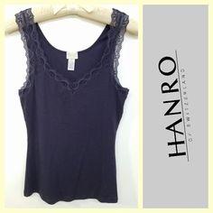 Hanro $35 dark purple soft cotton/modal ribbed lace cami sz.M #buynow www.tpopshop.nyc  Tribeca Consignment #Hanro