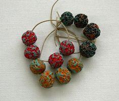 Rustic polymer clay bead set by WinterBirdStudio on Etsy, $8.00