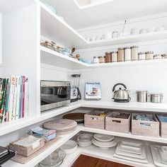 Pantry with Wraparound Shelves, Cottage, Kitchen, Coastal Style