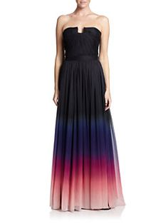 Halston Heritage - Ombrè Crinkled Chiffon Strapless Gown <br>