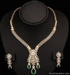 Indian Gold and Diamond Jewellery: Long Ruby and Emerald Necklace Jewellery Designs : Simple Diamond Necklace with Emerald Stones Kalyan Jewellers Antique Real Diamond Necklace, Diamond Pendant, Emerald Necklace, Diamond Jewelry, Lotus Jewelry, Wedding Jewellery Designs, Gold Jewellery Design, Designer Jewelry, Gold Jewelry Simple