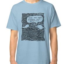 Classic T-Shirt, Have you tried swimming with autistics? Funny, whimsical, dolphin therapy for autism, zentangle style