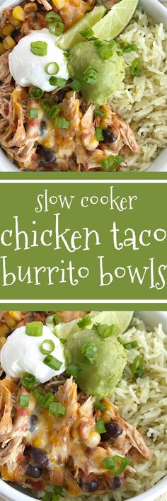 Slow cooker chicken taco burrito bowls are a fuss-free, minimal prep & ingredients, and a family favorite dinner recipe. Cheesy chicken taco meat is made in the slow cooker! Create your very own burrito bowl, at a fraction of the cost of take-out, right at home. Cheesy chicken taco meat served over some cilantro lime rice and topped with avocado, sour cream, green onions, and whatever else you want | www.togetherasfamily.com #chickenrecipes #tacorecipes #tacos #slowcookerrecipes…