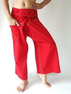 RED Handmade Thai Fisherman Pants Wide Leg by IndycraftsDesigns