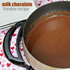 Milk Chocolate Fondue Recipe - A fondue party is such an easy and fun way to celebrate Valentine's Day with friends and family.
