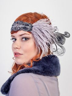 Flapper Feather Headband Silver And Slate With Ostrich Feather And Rhinestone Beading by BaroqueAndRoll on Etsy https://www.etsy.com/listing/206118188/flapper-feather-headband-silver-and