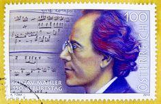 beautiful stamp Austria 100c Autriche timbre Österreich portrait Gustav Mahler composer artist musician