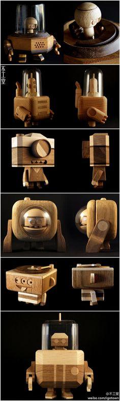 熟練労働者の素晴らしい木製のロボット[]
