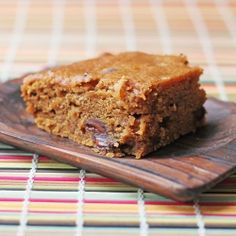 Delicious pumpkin squares with chocolate chips just in time for fall. (sub chocolate chips for nuts)