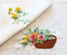 프랑스자수 - 장미 탁자보^^ : 네이버 블로그 Embroidery Flowers Pattern, Embroidery Motifs, Flower Patterns, Embroidered Roses, Brazilian Embroidery, Felt Applique, Flower Basket, Projects To Try, Sewing