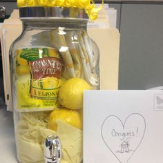 "Cute housewarming gift idea...this would be cute for an encouragement theme...""when life gives you lemons, make lemonade""  (and, of course, add other items to the gift)"