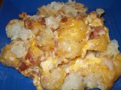 Cheesy chicken, bacon & tater tot crock pot bake...Brandon might eat chicken if it were mixed with bacon.