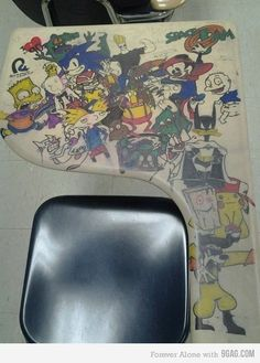 90's Childhood Desk. No desk in my elementary school was decked out this awesomely though.