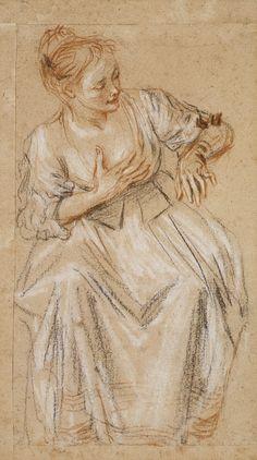 Mujer sentada  Artista: Antoine Watteau (francés, 1684-1721 Valenciennes Nogent-sur-Marne) Fecha: 1716-1717 Medio: Negro, rojo y blanco tiza
