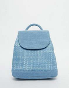 ASOS Denim Woven Mini Backpack at ASOS. Denim Backpack, Leather Backpack, Fashion Backpack, Drawstring Backpack, Backpack Brands, Colourful Outfits, Luggage Bags, Mini Bag, Women's Accessories