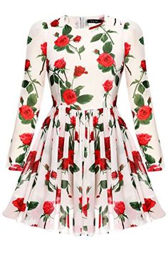 FINEJO Womens Floral Print Chiffon Maxi Beach Long Sleeve Party Dress Small White 2 -- Learn more by visiting the image link.