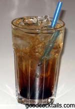 Mind Eraser  1 oz vodka  1 oz coffee liqueur  club soda  Pour vodka and coffee liqueur into a glass with ice. Fill with soda water. Do not shaker or stir.