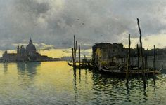 The Athenaeum - Evening, Looking Towards the Grand Canal with Santa Maria dells Salute in the Distance (Emilio Sanchez-Perrier - ) Watercolor Sea, Watercolor Pictures, Grand Canal, Great Paintings, Small Paintings, Oil Paintings, Nocturne, Venice Painting, Best Water Bottle