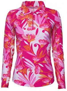 If you're in the market for some new outfits, consider our women's apparel! Shop this comfortable and stylish Pink Combo Ibkul Ladies & Plus Size Caroline Print Long Sleeve Polo Golf Sun Shirt from Lori's Golf Shoppe.