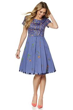 This charming dress is fun and feminine, and can be paired with flats, wedges or pumps for your spring and summer! Where would you wear this flirty frock?