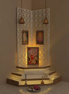 Pretty Up your Puja Room with Discern Living's design and decor ideas. From walls and corners to lighting ideas, find all you need to beautify your puja room. Temple Room, Home Temple, Pop Design, Design Ideas, Estilo India, Temple Design For Home, Mandir Design, Pooja Room Door Design, Indian Interiors