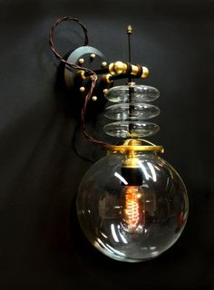 Glass and wire bubble sconce
