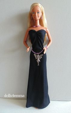 """MAKE A WISH..."" - handmade Gown, Fairy Belt and jewelry set for Supersize 18"" Barbie and Christie dolls - on ebay by DOLLS4EMMA."
