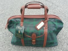 NWT Polo Ralph Lauren Green Tartan Plaid Duffle Bag Travel Luggage Carryall in Travel | eBay