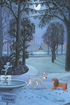 Lady and the Tramp Walt Disney Fine Art Michelle St. Laurent Signed Limited Edition of 95 on Canvas