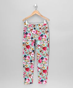 Take a look at this Aqua & Pink Floral Skinny Jeans - Girls by Shylo on #zulily today!