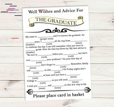 Graduation Advice Game Cards Well Wishes for the Graduate Mad Libs in – Invites and Delites