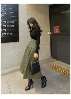 Long Skirt Fashion, Long Skirt Outfits, Modest Outfits, Stylish Outfits, Fashion Outfits, Long Skirts, Korean Girl Fashion, Korean Street Fashion, Asian Fashion