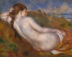 """ART & ARTISTS: Pierre-Auguste Renoir - part 9 1883 Reclining Nude: Nudes and the grand tradition of classical art preoccupied Renoir in the 1880s. In this painting, he paid homage to Ingres's """"Grand Odalisque,"""" although he transformed Ingres's cool courtesan into a healthy, pink-cheeked girl, and the harem into an Impressionist landscape reminiscent of the Channel coast.   1883 Reclining Nude oil on canvas 65.1 x 81.3 cm The Metropolitan Museum of Art, New York"""