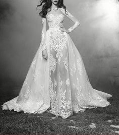 By far the most Beautiful dress ive ever seen EVER my favorite the lace tge shape the volume the lines sheer elegance Zuhair Murad bridal fall 2016