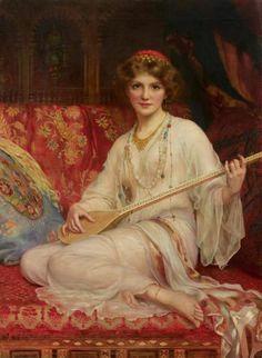 La Joueuse de Saz ( The Saz player) - William C. Wontner - Victorian Art