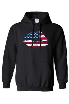d3062621d23 Men s Unisex Pullover Hoodie American USA Lips Kissing Flag Pride -  SHORETRENDZ Pullover Hoodie