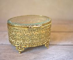 Vintage Gold Filagree Jewelry Box with Cherubs by postoakvintage