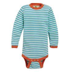 Långärmad body, ull/silke: Body med ståkrage och långa ärmar. 70% merinoull, 30% silke. fra Nøstebarn.
