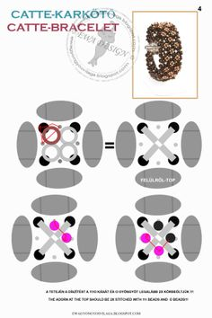Ewa beaded World: Catte pattern bracelet / bracelet pattern Catte (Page 4 of Free Beading Tutorials, Beading Patterns Free, Seed Bead Patterns, Beaded Bracelet Patterns, Jewelry Patterns, Beaded Jewelry, Beaded Bracelets, Super Duo Beads, Twin Beads