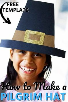 This cool Pilgrim hat will make you the best-dressed guest at your Thanksgiving dinner. Fun and festive with these awesome hats. Have all the supplies ready and it a great way to entertain the kids before your meal. Craft Activities For Kids, Projects For Kids, Diy For Kids, Cool Kids, Holiday Activities, Kids Fun, Hat Template, Templates, Snail Craft