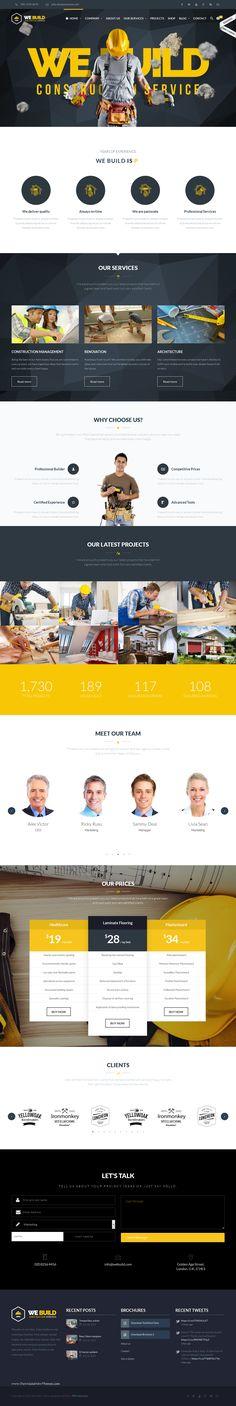 We Build is Premium Responsive Retina Parallax WordPress Construction Company Theme. Free demo at ThemeForest Homepage Web, Premium Wordpress Themes, Web Design Inspiration, Layout Design, Modern Design, Construction Business, Building, Website Designs, Business Website