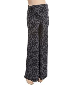 Another great find on #zulily! Gray & Black Damask Maternity Palazzo Pants - Plus Too by GLAM #zulilyfinds