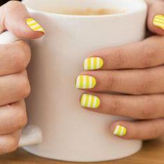 Nail Polish Designs, Acrylic Nail Designs, Nail Art Designs, Stripe Nail Designs, Yellow Nails Design, Yellow Nail Art, Wedding Nail Polish, Minx Nails, Glam Nails