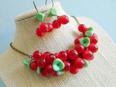 Cherry Cobbler Necklace  Vintage Retro Red by ChromeAndCotton