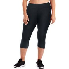 Just My Size Active Performance Capri Leggings, Women's, Size: 4XL, Black