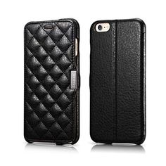 iCarer iPhone 6 Plus Case Microfiber Check Series Side open Genuine Leather Wallet Case Cover